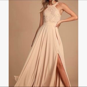 👗 Lulus Picture Perfect Blush Lace Maxi Dress